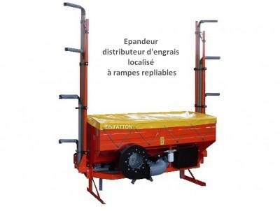 Épandeur distributeur d'engrais localisé à rampes repliables