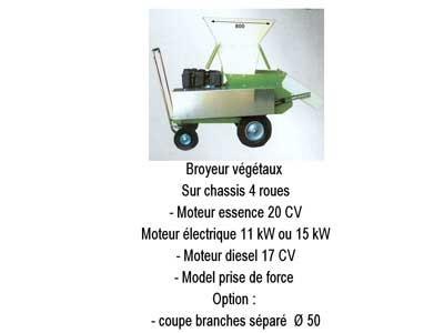Broyeur végétaux sur chassis 4 roues
