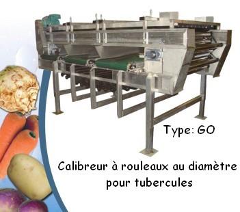 Calibreur à rouleaux au diamètre pour tubercules