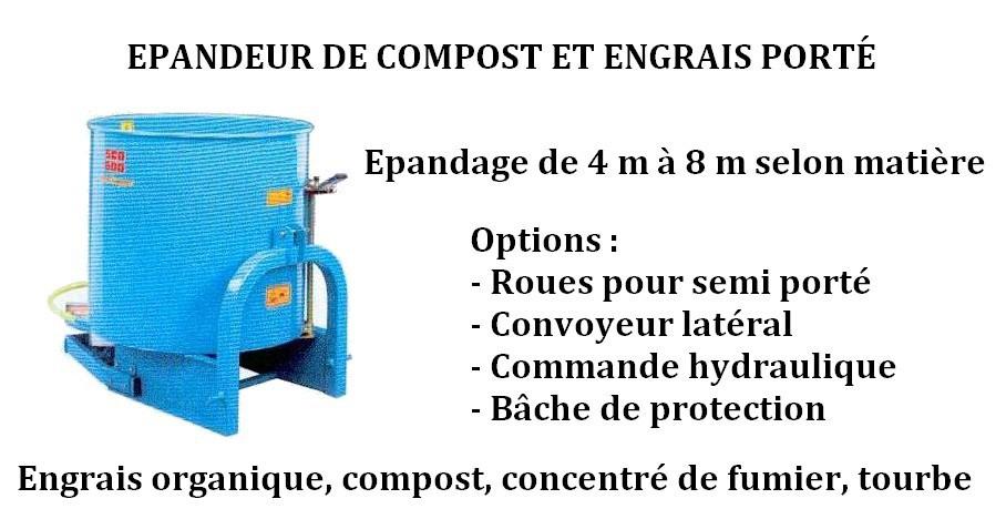 Épandeur de compost et engrais porté